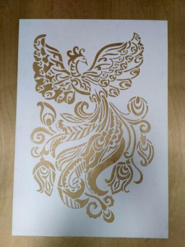 Phoenix Stencil Reusable wall stencils for painting firebird dragon silhouette
