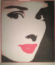 """Printed Needlepoint canvas """"Audrey Hepburn"""" - Wall art or pillow cover"""