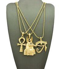 New Ankh Cross, Eye of Heru & Anubis Pendant & Ball Chain Necklace Set - RC1994G