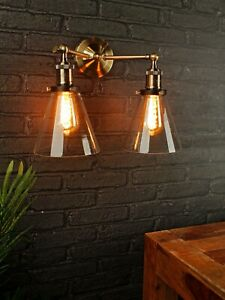 INDUSTRIAL-ANTIQUE-BRASS-ARM-WALL-LIGHT-WITH-CLEAR-GLASS-SHADES
