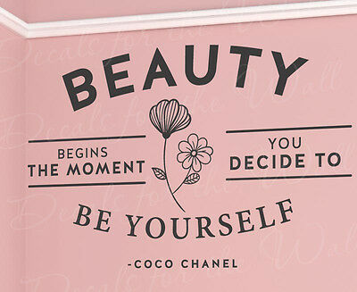 Beauty Begins Decide To Be Yourself Coco Chanel Wall Quote Vinyl Art Decal Q07