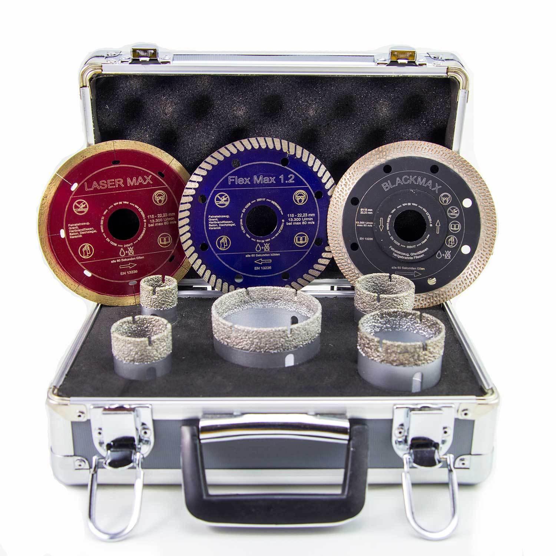 Diamant Fliesenbohrer Set M14 25 35 40 50 68 mm + 3 Diamant-Trennscheiben 115mm
