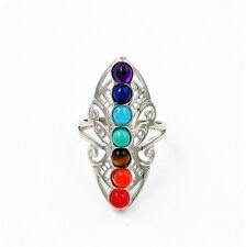 Silver Healing Hollow Stones 7 Chakra Adjustable Ring Thumb Reiki Gem Ring