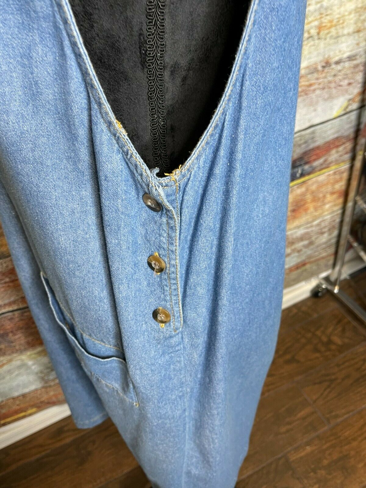 Vtg D.P.S. New york Denim jean jumper apron pinaf… - image 3