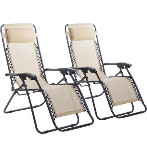 SET of 2 Chairs Zero Gravity Lounge Outdoor Yard Patio Garden Folding Chair NEW