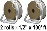 (2) Rolls Imperial Ga0171 1/2 X 100 Ft Wood Stove Door Fiberglass Gasket Rope