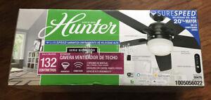 Indoor Matte Black Wi-Fi Smart Ceiling Fan LED Light Remote Hunter Cavera 52 in