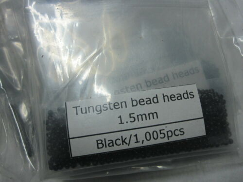 1000  Tungsten Fly Tying Bead Heads  Black 1.5MM
