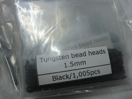 Angelsport-Artikel 1000  Tungsten Fly Tying Bead Heads  Black 1.5MM