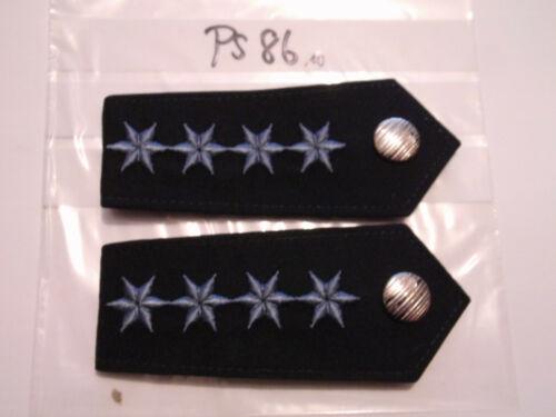 ps86 Polizei Schulterstücke blau 4 graublaue Sterne PHM  1 Paar