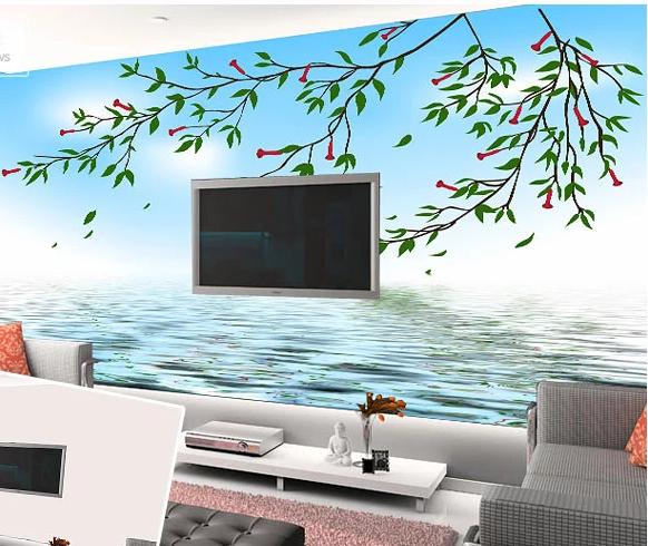 3D Himmel Bäume Meer 454 Tapete Tapeten Mauer Foto Familie Tapete Wandgemälde