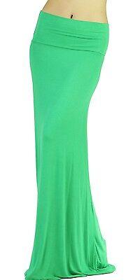 New Green Women Solid Fold Over Waist Soft Rayon Long Maxi Skirt Reg Plus USA
