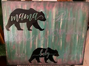 MAMA BEAR /& CUBS Grizzly Mom Cabin Lodge Camping Country Primitive Home Decor
