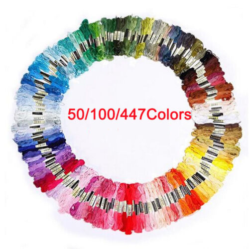 50//100//447 Pcs Cotton Floss Sewing Skeins Cross Stitch Thread Embroidery Craft