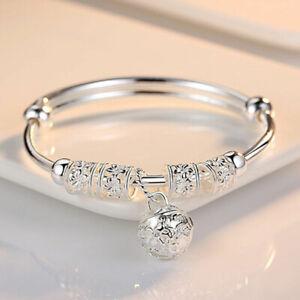 925-Sterling-Silver-Plate-Perline-Bracciale-donna-gioielli-donna-Bracciale-con-Charm-Regalo