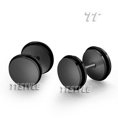 TT Surgical Steel Round Fake Ear Plug Earrings Body Piecing Choose Colour (BE90)