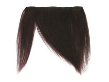 CLIP-IN HUMAN HAIR FRINGE BANGS CYBERLOX #99J BLACK BURGUNDY UNCUT 8""