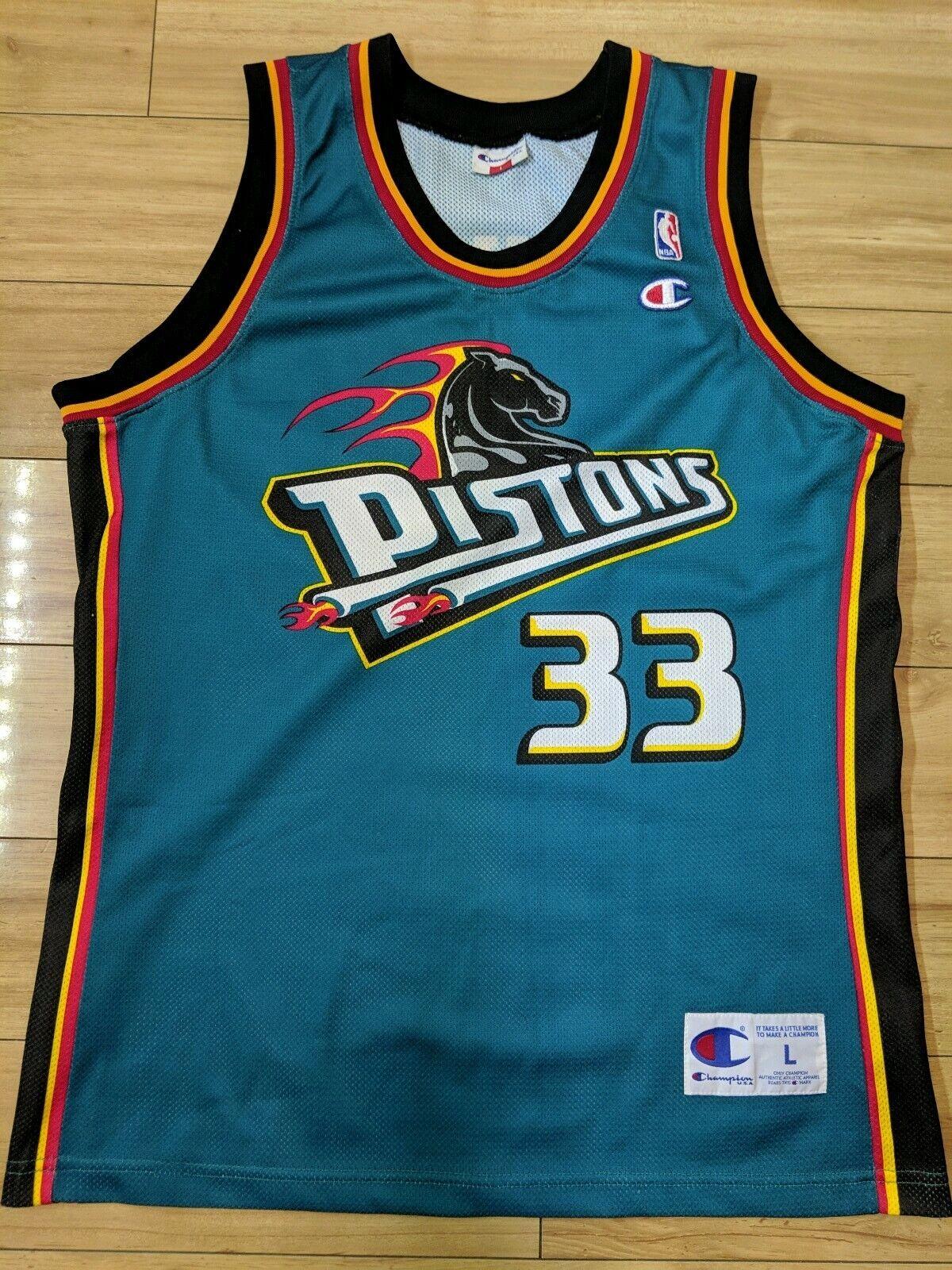 Hill Detroit Pistons Champion Jersey - Large Grant NBA nnyog