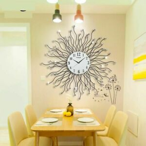 Metal-Wall-Clock-Digital-Hanging-Watch-Home-Accent-Living-Room-Dining-Decoration
