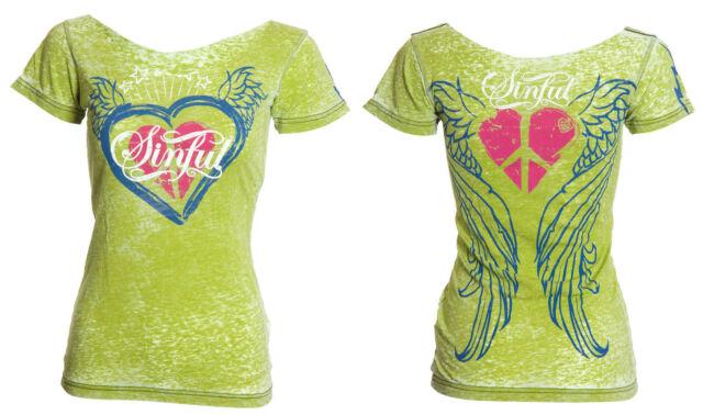 Sinful AFFLICTION Womens T-Shirt ABI Heart Wings Tattoo Biker UFC BKE XS-L $58
