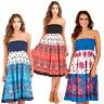 Ladies 2 In 1 Strapless Cotton Bandeau Beach Summer Sun Dress Long Maxi Skirt