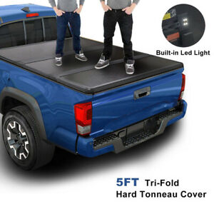 FOR 15-21 COLORADO/CANYON 5FT SHORT BED FRP HARD SOLID TRI-FOLD TONNEAU COVER