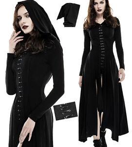 Robe-longue-capuche-elfique-gothique-lolita-mystique-fendue-lacage-mode-Punkrave