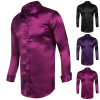 Luxury Mens Long Sleeve Casual Slim Fit Shirts Formal Party Dress Size S M L XL