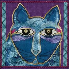 Laurel Burch Wild Blue Cat On Aida Counted Cross Stitch Kit