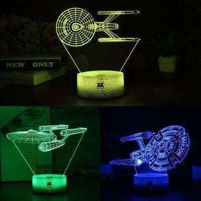 Star Trek Uss Enterprise 3d Led Tischlampe Leselampe Nachttischlampe 7 Farbe Hoher Standard In QualitäT Und Hygiene