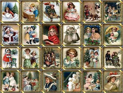 "24 CHRISTMAS CHILDREN - ""VINTAGE"" LOOK SCRAPBOOK PAPER CARD CRAFT GIFT TAG"