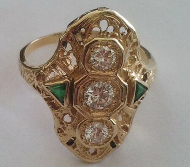 Vintage 18K Yellow Gold Ring European Cut Diamonds & Emeralds 0.50 TCW Size 5