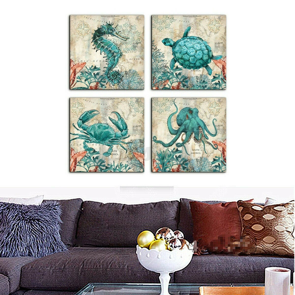 4PCS Sea Canvas Painting Ocean Picture Turtle Horse Wall Art Home Poster Decor