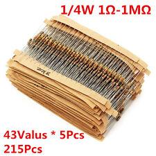 215Pcs 43 Values 1/4W 0.25W Carbon Film Resistors Assortment kit 1-1M Ohm Ω