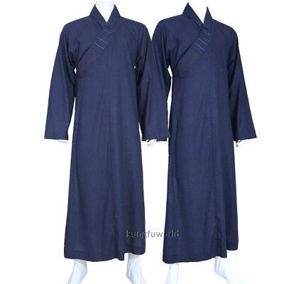 Shaolin Buddhist Monk Dress Meditation Cotton Linen Long Robe Gown Kung Fu Suit