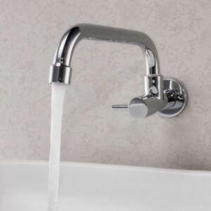 Brass Chrome Wall Mount Swivel Spout Kitchen Sink Tap