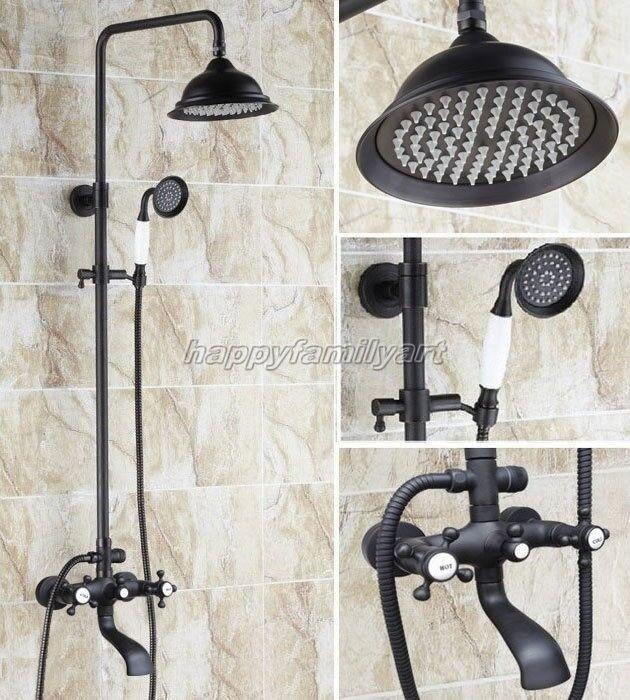 Huile frougeté bronze salle de bains pluie Douche robinet Set Double Cross Poignées yhg104