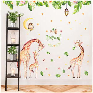 Wandtattoo-Giraffe-Afrika-Eule-Mond-Dschungel-Aufkleber-Kind-Baby-Zimmer-Deko