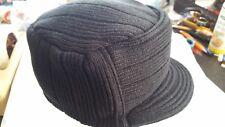 794f43ab Gi Cadet Army Military Flat Top Jeep Beanies Caps Hats Ribbed Knit Visor  BLACK