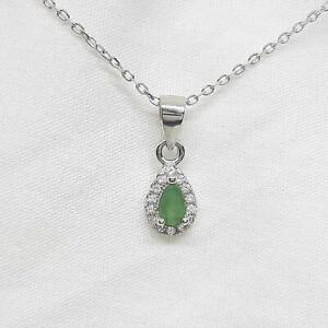 Genuine-45ctw-Columbian-Emerald-amp-Diamond-Cut-White-Sapphire-925-Necklace