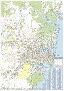 LAMINATED MAP OF GREATER SYDNEY REGION POSTER 70x100cm WALL