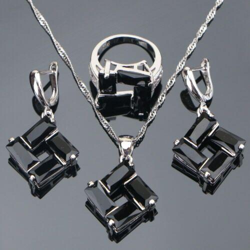 Relojes Y Joyas Conjunto Negro Cristales De La Cz Collar Pulsera Aretes Anillo 925 Plata Navidad Regalos Su Bulldoggin