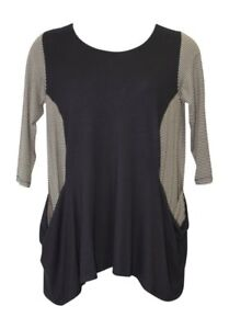 Alembika-Black-Two-Pocket-Tunic-Top-NWT-made-in-Israel-size-8