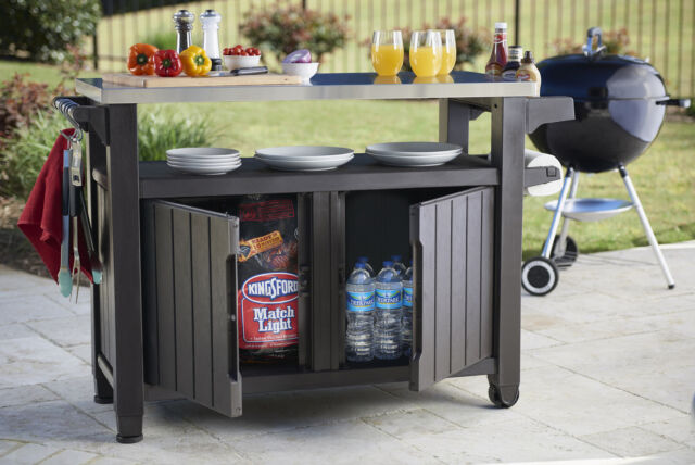 d5995e64fca1 Keter Unity XL Indoor Outdoor Entertainment BBQ Storage Table/Prep Station/