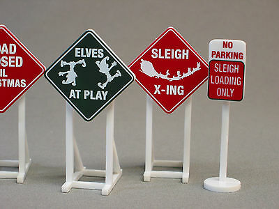 LIONEL CHRISTMAS RAILROAD ROAD SIGNS train fastrack O GAUGE track rr 6-37185 NEW