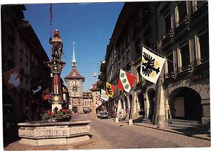 Suizo-TARJETA-POSTAL-BERNA-Contorno-de-el-reloj-y-la-fuente-de-zahringen
