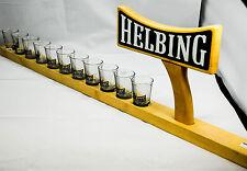 Helbing Kümmel, 11 Shot Gläser, Schnapsgläser auf Meterbrett, ca. 83 cm