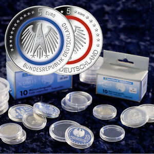 10x Leuchtturm Münzkapsel Für 5 Euro Münze Deutschland Sondermünzen