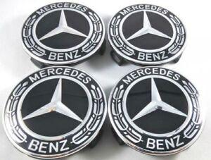 4X-MERCEDES-emblem-75mm-NABENDECKEL-Schwarz-Stern-FELGENDECKEL-Logo