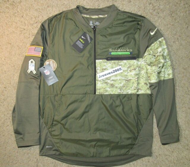96c57bf51 NWT Nike Salute to Service Hybrid 1 2 Zip Jacket SEATTLE SEAHAWKS Sz Large  STS